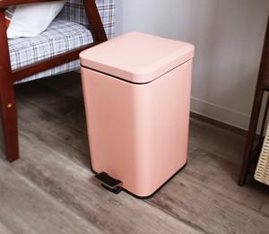 ペダル式ペール 20L ダストボックス ゴミ箱 スチール ふた付き ソフトクローザー ピンク