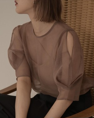 airy open shoulder puff sleeve