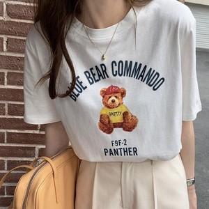 レトロテディベアプリント半袖Tシャツ S3708
