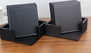 送料無料【選べる 正方形 コースター 6枚セット(収納BOX付き)】合皮 レザー 革 革製/インテリア お店 レストラン