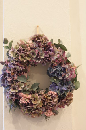 Dried hydrangia wreath(秋色アジサイのリース›