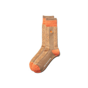 TILED MIDDLE SOCKS - ORANGE