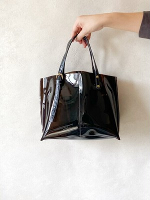PVC ビニール トートバッグ 本革 ブラック × ダークブラウン 2way