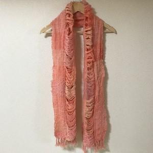 手織りマフラー フラミンゴピンク 0007 handweaving scarf