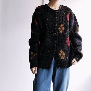 Japanese used Argyle knit cardigan