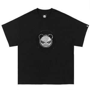 【HIPANDA】メンズ Tシャツ MEN'S 2WAYS HIPANDA LOGO SEQUINS SHORT SLEEVED T-SHIRT / BLACK
