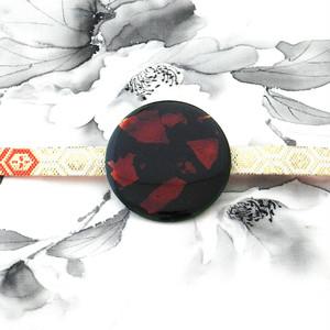飛騨春慶の帯留め 緑/銀箔[OB01]