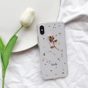 金の薔薇と金箔をアレンジしたクリアiPhoneケースiphoneXRiphoneXsmax