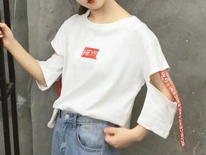 [大人気]HEYデザイン紐付きTシャツ 2カラー