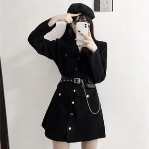 【ワンピース】韓国系長袖シングルブレスト折り襟Aラインワンピース32605616