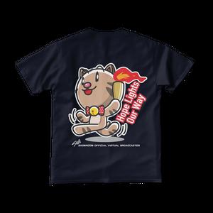 <ネイビーTシャツ 背面>聖火みーちゃん