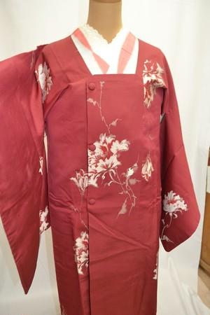アンティーク道行コート☆赤地に花の織模様