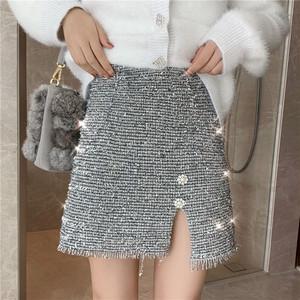 【bottoms】スカートスリムAラインタッセルハイウエストファッション