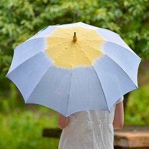 小宮商店×きぬのいえ 日傘【薄藍×檸檬】