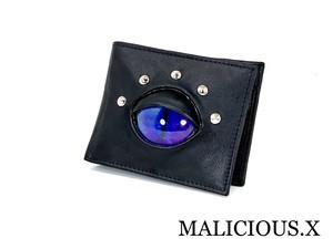 cat eye folding wallet / deep blue × violet