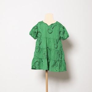 folk made  face print dress (green print) M・Lサイズ F21SS-012 ※メール便1点までOK