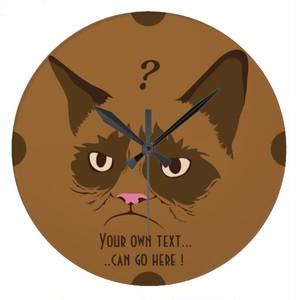 自問自答する猫の壁時計(トルコデザイン)