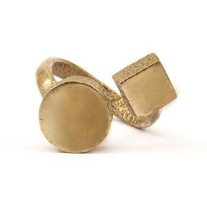 Raw brass Rings -  Circle&Sqiareリング N0.16