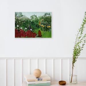 素敵なアートパネル A4サイズ サルのいる熱帯林  アンリ・ルソー 石膏ボード用ひっかけ金具付き