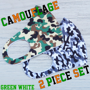 The Delight shop SELECT camouflage samless MASK 3pieceSET(迷彩 シームレス マスク 2色セット)グリーン&ホワイト