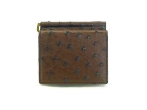 二つ折り財布 ビルクリップ オーストリッチ