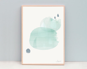 Rain - Soft Green / A4 Abstract Watercolor Painting