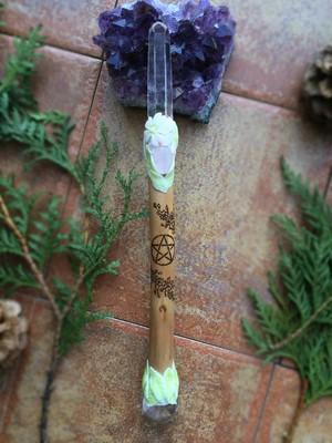 桜の魔法の杖(ワンド)水晶ポイント&スフィア装着