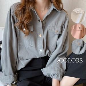 【トップス】カジュアル折襟長袖シングルブレストシャツ41540435