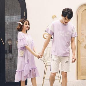 カップル ペアルック リンクコーデ  Tシャツ ワンピース  カジュアル お揃い 原宿系  0568