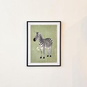 ポスター30cm×40cm /zebra green(フレーム付き)