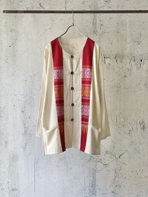ethnic pattern cotton shirt