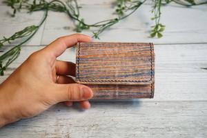 着物の染色技法で革を染めた三つ折りミニ財布 no,19