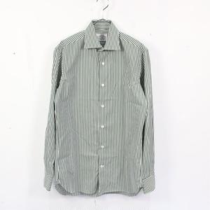 【美品】UNITED ARROWS / ユナイテッドアローズ   ワイドカラーストライプコットンシャツ   38   グリーン   メンズ