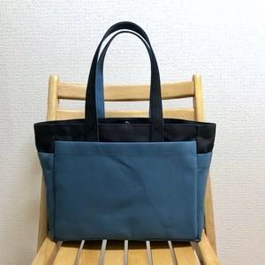 「ボックストート」通勤トート「ブラック(黒)×ミネラルブルー」帆布トートバッグ 倉敷帆布8号