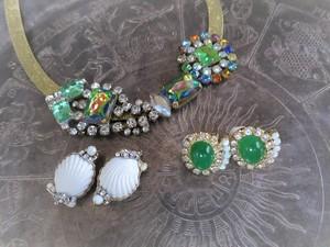 ホワイトシェルイヤリング vintage earrings white shell <ER-shwht2>