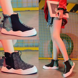 【sneaker】Korean women canvas 2018 new casual  hip hop high cut sneaker