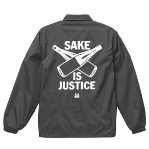 【受注生産】【12/26予約締切1月中旬発送】ナイロンコーチジャケット / グレー SAKE IS JUSTICE