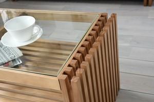 Villa Glass Low Table BR / 西海岸リゾートスタイル ヴィラ ガラスローテーブル / ブラウン