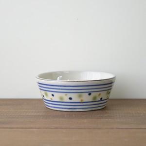 ボーダーと三色水玉の小鉢 小