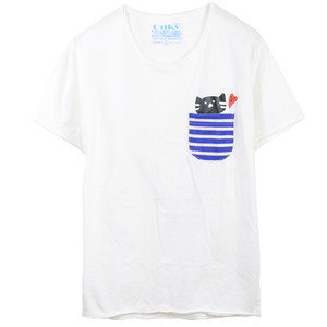 もずにゃん ポケット Tシャツ【ホワイト】