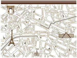 Paris Map パリマップ ダークブラウン A4 コル・カロリオリジナル転写紙