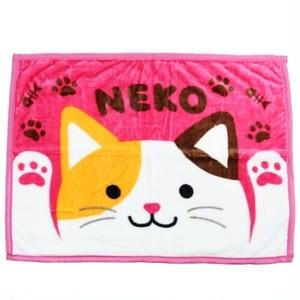 【WAKUWAKU ANIMAL】マイヤーブランケット(みけねこねこ)ひざ掛け【三毛猫 猫雑貨 cat】
