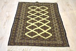 123×86  #1200-0800 茶色に黄色がスパイスのアフガニスタンメイド絨毯