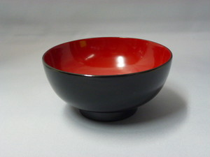 日本製木製漆塗り汁椀黒内朱5客揃え