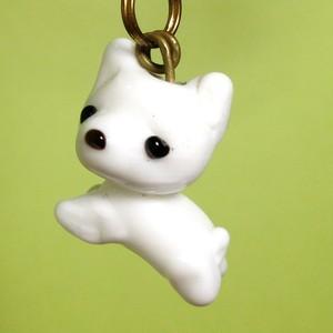 白犬*動物とんぼ玉チャーム