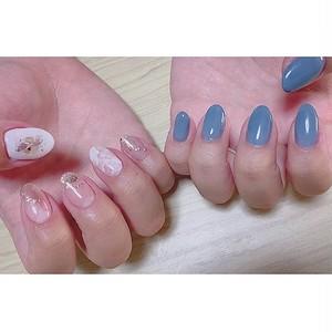 ブルー×ホワイトピンクニュアンスネイル
