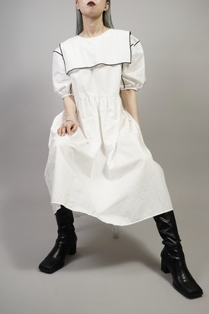 BI-COLOR PIPING SAILOR COLLAR ONE PIECE   (IVORY) 2105-82-80