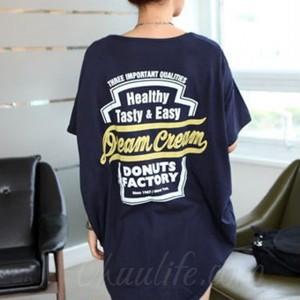 【トップス】韓国 ラウンドネック 半袖 ドルマン テールカット ロング Tシャツ44337103