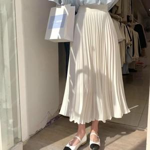 soft pleats long skirt[2104-33]