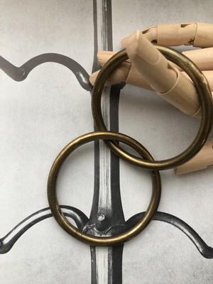 vintage double circle brass bangle 70s
